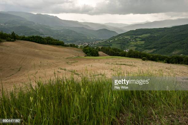Bobbio in northern Italy surrounded by hills and mountains.