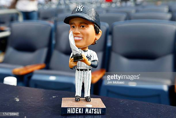 A bobble head doll of former New York Yankee Hideki Matsui is seen after a game between the New York Yankees and the Tampa Bay Rays at Yankee Stadium...