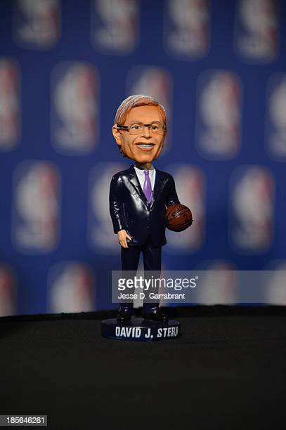 A bobble head of NBA Commissioner David Stern after the Board of Governors meetings during a press conference on October 23 2013 at the St Regis...