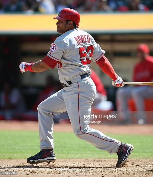 Bobby Abreu of the Los Angeles Angels of Anaheim bats against the Oakland Athletics during the game at the OaklandAlameda County Coliseum on October...