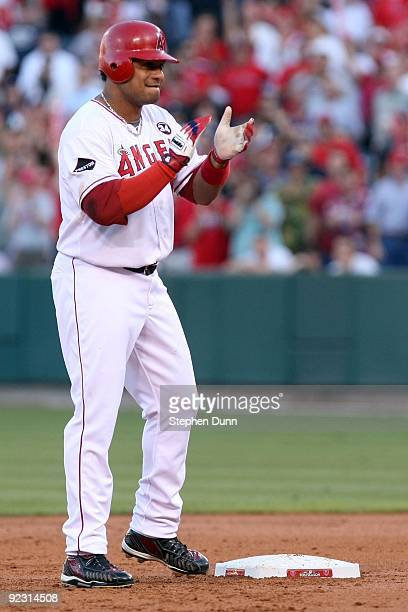 Bobby Abreu of the Los Angeles Angels of Anaheim stands on second base after hitting a double during the first inning in Game Five of the ALCS...