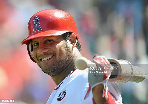 Bobby Abreu of the Los Angeles Angels of Anaheim waits on deck during the game against the Chicago White Sox at Angel Stadium of Anaheim on September...