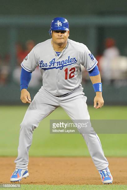 Bobby Abreu of the Los Angeles Dodgers leads off first base during a baseball game against the Washington Nationals on September 20 2012 at Nationals...