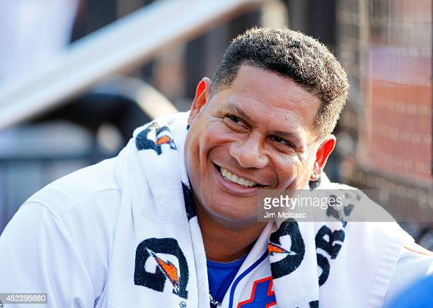Bobby Abreu of the New York Mets looks on against the Miami Marlins at Citi Field on July 12 2014 in the Flushing neighborhood of the Queens borough...
