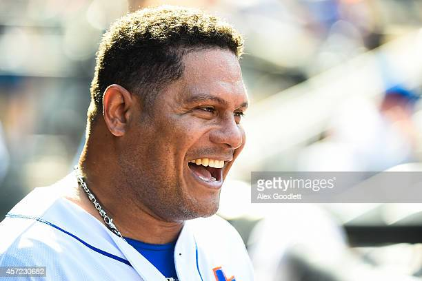 Bobby Abreu of the New York Mets looks on during a game against the Houston Astros at Citi Field on September 28 2014 in the Flushing neighborhood of...