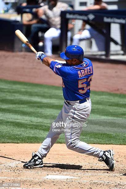 Bobby Abreu of the New York Mets plays during a baseball game against the San Diego Padres at Petco Park on July 20 2014 in San Diego California