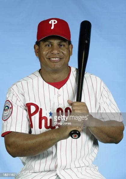 Bobby Abreu of the Philadelphia Phillies poses for a portrait during the Phillies Media Day at Jack Russell Stadium in Clearwater Florida