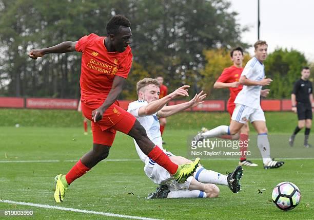Bobby Adekanye of Liverpool and Alex Storey of Sunderland in action during the Liverpool v Sunderland U18 Premier League game on October 29 2016 in...