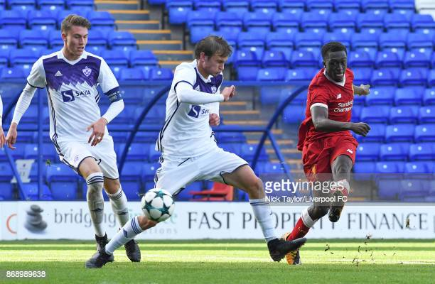 Bobby Adekanye of Liverpool and Zgajner Blaz of NK Maribor in action during the Liverpool v Maribor UEFA Youth League game at Prenton Park on...