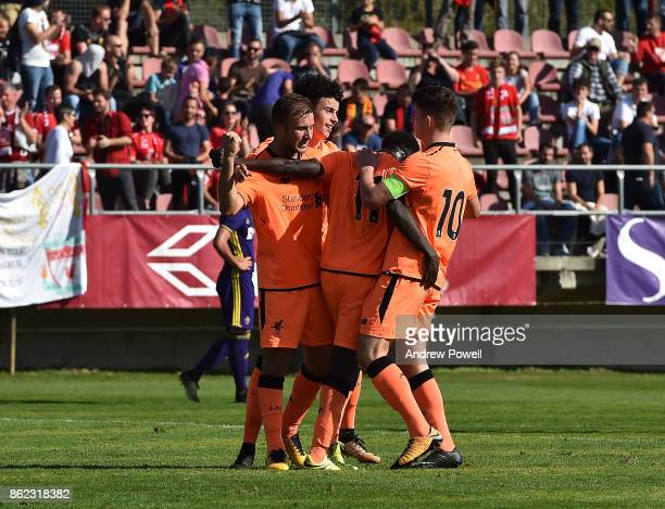 Bobby Adekanye of Liverpool celebrates after scoring the first goal for Liverpool during the UEFA Youth League group E match between NK Maribor and...