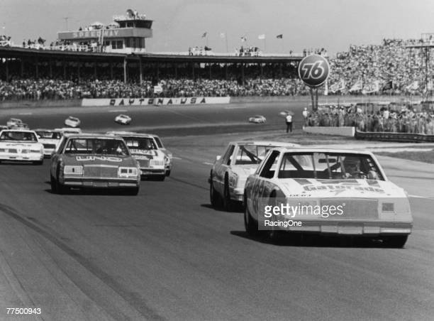 Bobby Allison driver of the Gatorade Buick leads during the 1982 NASCAR Winston Cup Daytona 500 at the Daytona International Speedway on February 14...