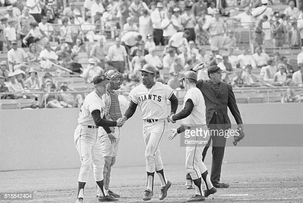 Bobby Bonds San Francisco Giants greeted at the plate by Dick Dietz and Hal Lanier after hitting a 3run homer against Cincinnati Reds