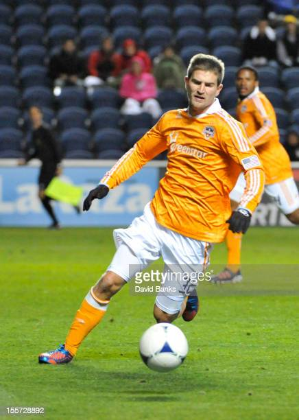 Bobby Boswell of Houston Dynamo moves the ball against the Chicago Fire in an MLS match on October 31 2012 at Toyota Park in Bridgeview Illinois The...