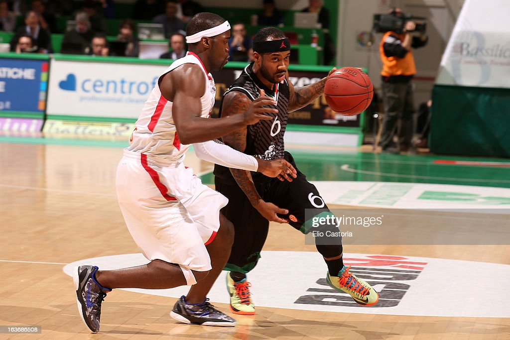 Bobby Brown, #6 of Montepaschi Siena in action during the 2012-2013 Turkish Airlines Euroleague Top 16 Date 11 between Montepaschi Siena v Olympiacos Piraeus at Palaestra on March 14, 2013 in Siena, Italy.