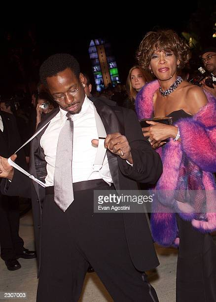 Bobby Brown and Whitney Houston arrive at the Vanity Fair Oscar party at Morton's Restaurant in Los Angeles Sunday night March 25 2001 Photo by Evan...