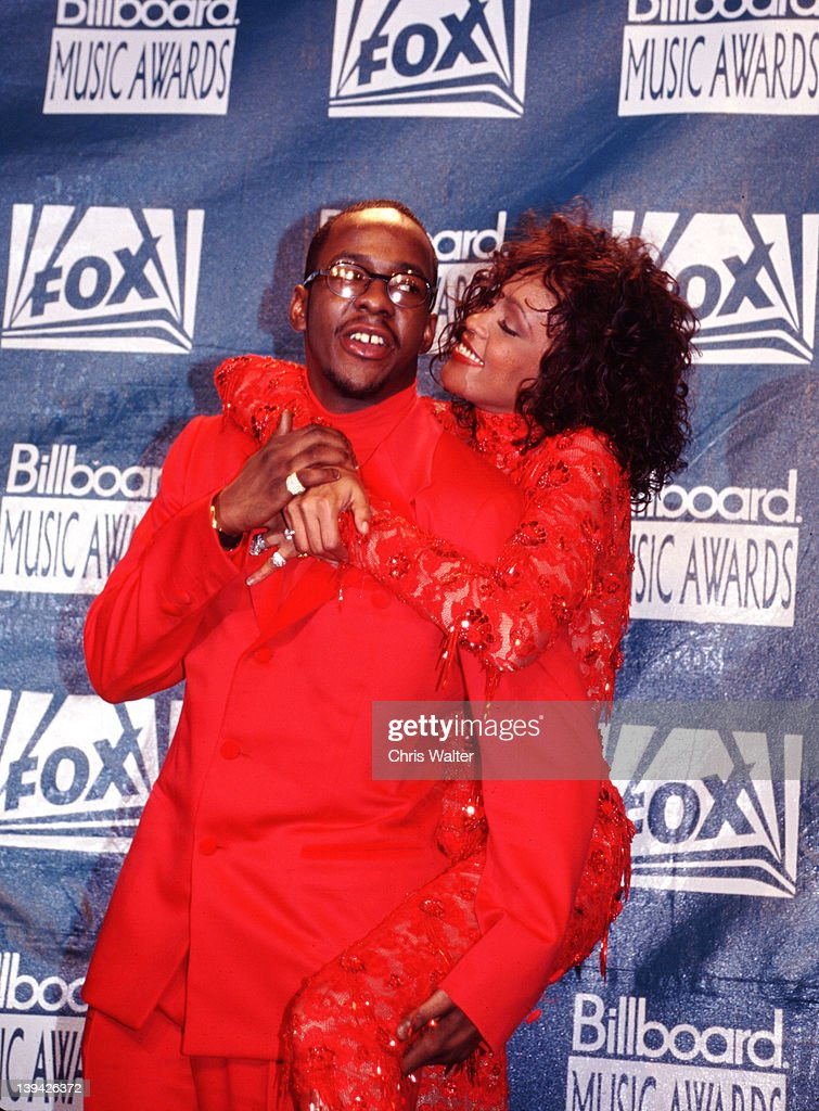Bobby Brown and <a gi-track='captionPersonalityLinkClicked' href=/galleries/search?phrase=Whitney+Houston&family=editorial&specificpeople=201541 ng-click='$event.stopPropagation()'>Whitney Houston</a> at the Billboard Music Awards on December 8, 1993 in Universal City, California.