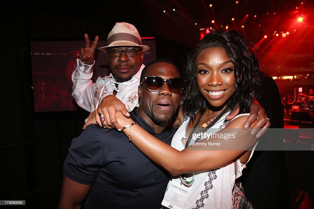 Bobby Brown, <a gi-track='captionPersonalityLinkClicked' href=/galleries/search?phrase=Kevin+Hart+-+Schauspieler&family=editorial&specificpeople=4538838 ng-click='$event.stopPropagation()'>Kevin Hart</a>, and <a gi-track='captionPersonalityLinkClicked' href=/galleries/search?phrase=Brandy+Norwood&family=editorial&specificpeople=202122 ng-click='$event.stopPropagation()'>Brandy Norwood</a> attend the 2013 Essence Festival at the Mercedes-Benz Superdome on July 6, 2013 in New Orleans, Louisiana.
