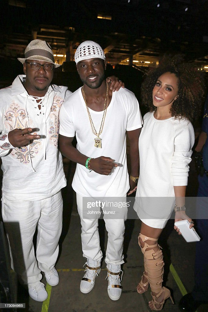 Bobby Brown, <a gi-track='captionPersonalityLinkClicked' href=/galleries/search?phrase=Lance+Gross&family=editorial&specificpeople=4083742 ng-click='$event.stopPropagation()'>Lance Gross</a>, and Rebecca Jefferson attend the 2013 Essence Festival at the Mercedes-Benz Superdome on July 6, 2013 in New Orleans, Louisiana.