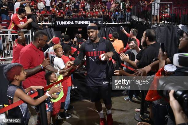 Bobby Brown of the Houston Rockets participates in the team's annual Fan Fest event on October 7 2017 at the Toyota Center in Houston Texas NOTE TO...