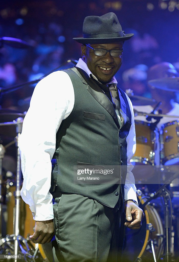 Bobby Brown performs with New Edition at the 8th Annual Jazz In The Gardens Day 1 at Sun Life Stadium presented by the City of Miami Gardens on March 16, 2013 in Miami Gardens, Florida.