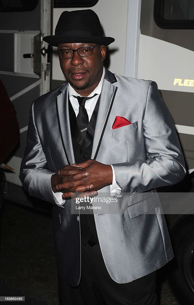 Bobby Brown poses backstage at the 8th Annual Jazz In The Gardens Day 1 at Sun Life Stadium presented by the City of Miami Gardens on March 16, 2013 in Miami Gardens, Florida.