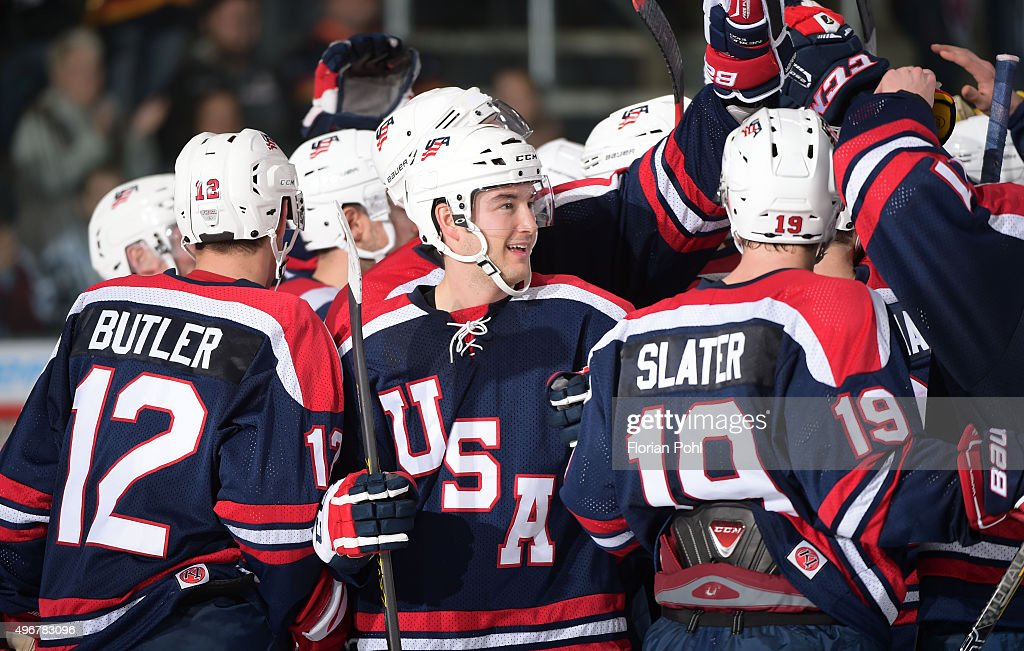 Bobby Butler Casey Wellman and Jim Slater of Team USA celebrate the win ueber die Swiss after the game Swiss against die USA on november 7 2015 in...