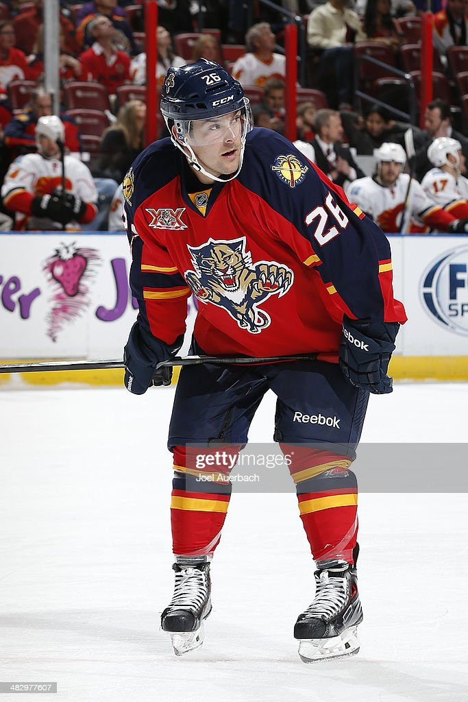Bobby Butler of the Florida Panthers prepares for a faceoff against the Calgary Flames at the BBT Center on April 4 2014 in Sunrise Florida The...