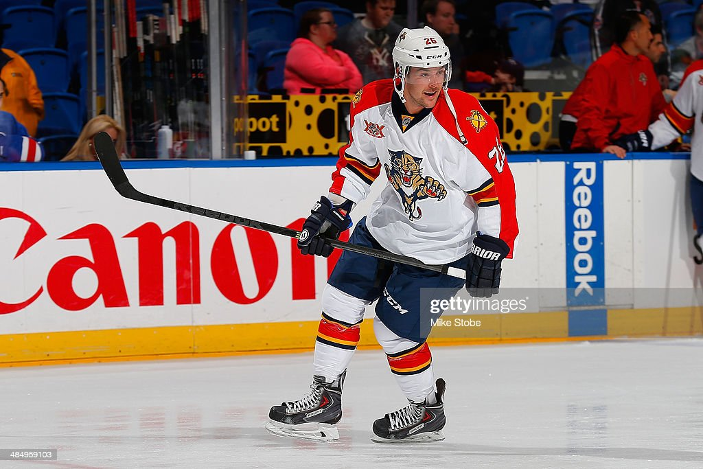 Bobby Butler of the Florida Panthers skates against the New York Islanders during warmups at Nassau Veterans Memorial Coliseum on April 1 2014 in...
