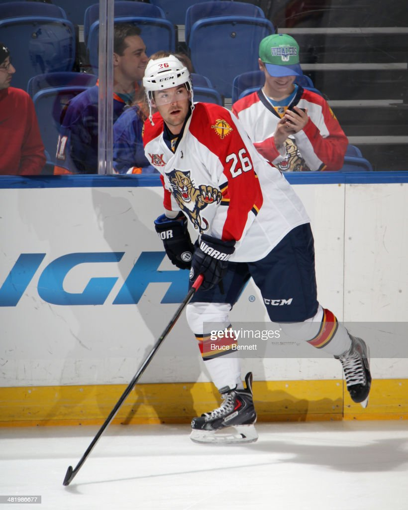 Bobby Butler of the Florida Panthers skates in warmups prior to the game against the New York Islanders at the Nassau Veterans Memorial Coliseum on...