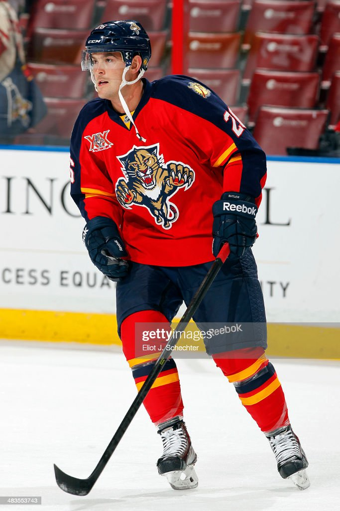 Bobby Butler of the Florida Panthers skates on the ice prior to the start of the game against the Calgary Flames at the BBT Center on April 4 2014 in...