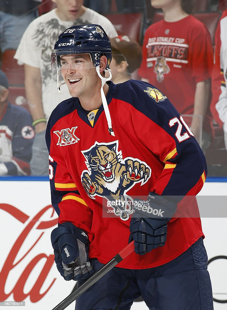 Bobby Butler of the Florida Panthers skates prior to the game against the Calgary Flames at the BBT Center on April 4 2014 in Sunrise Florida