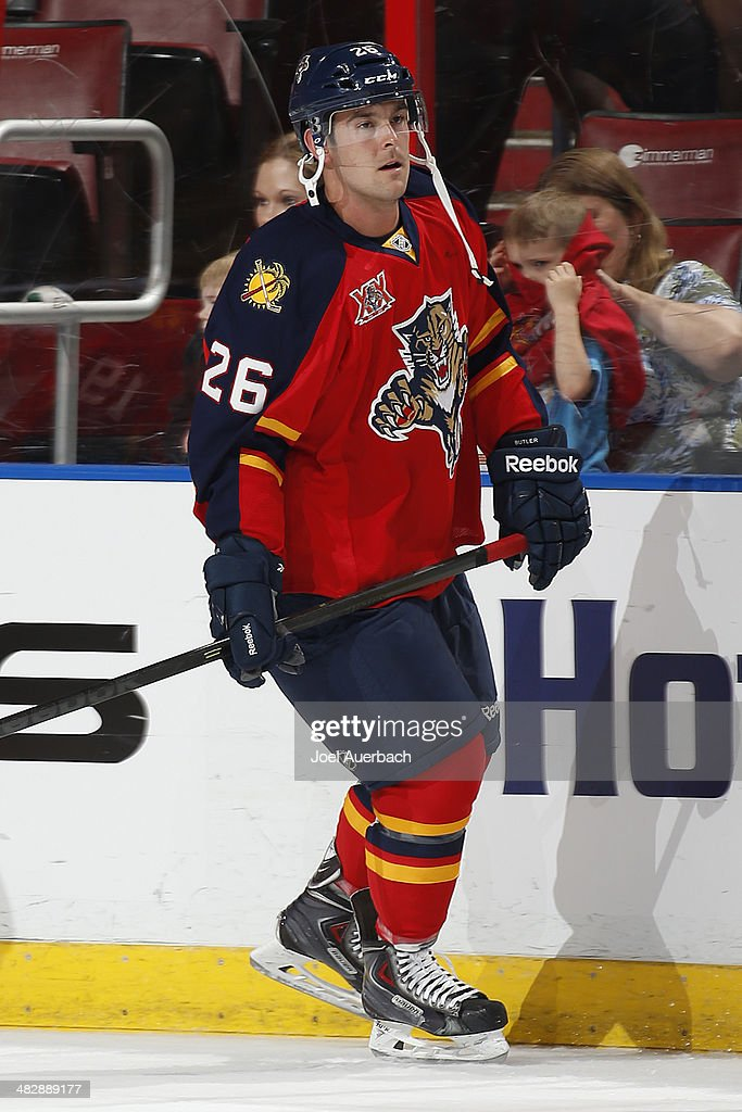 Bobby Butler of the Florida Panthers skates prior to the game against the Calgary Flames at the BBT Center on April 4 2014 in Sunrise Florida The...