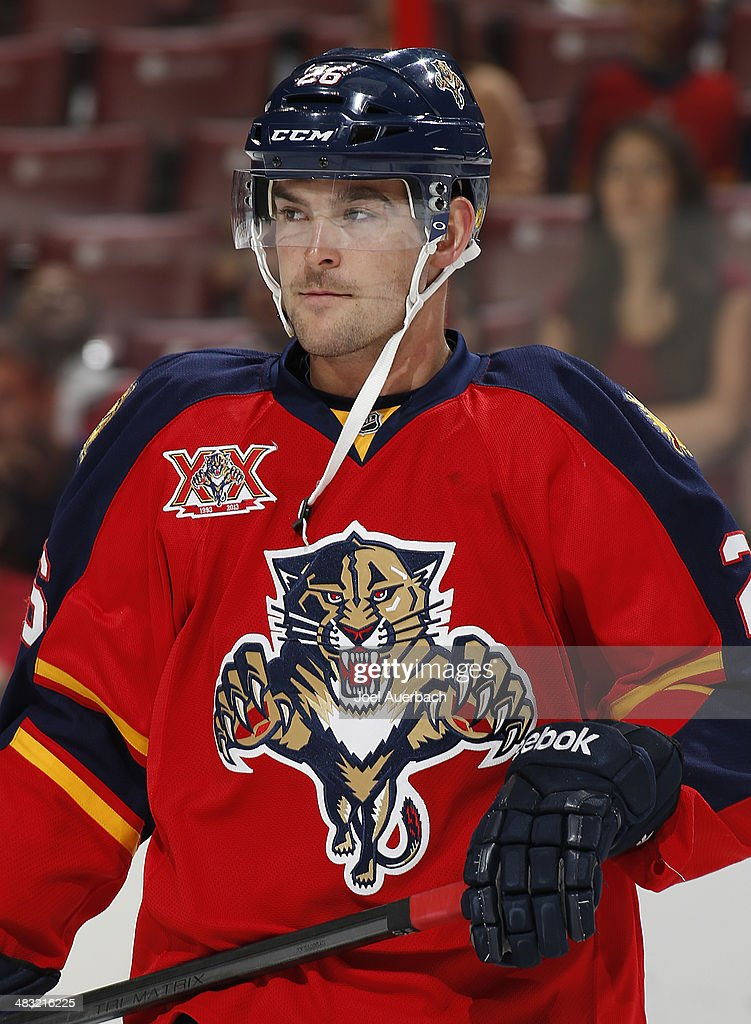 Bobby Butler of the Florida Panthers skates prior to the game against the Dallas Stars at the BBT Center on April 6 2014 in Sunrise Florida The...