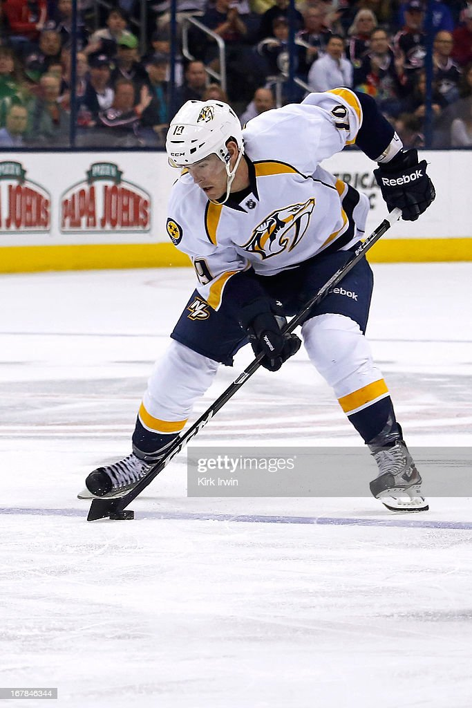 Bobby Butler of the Nashville Predators controls the puck during the game against the Columbus Blue Jackets on April 27 2013 at Nationwide Arena in...