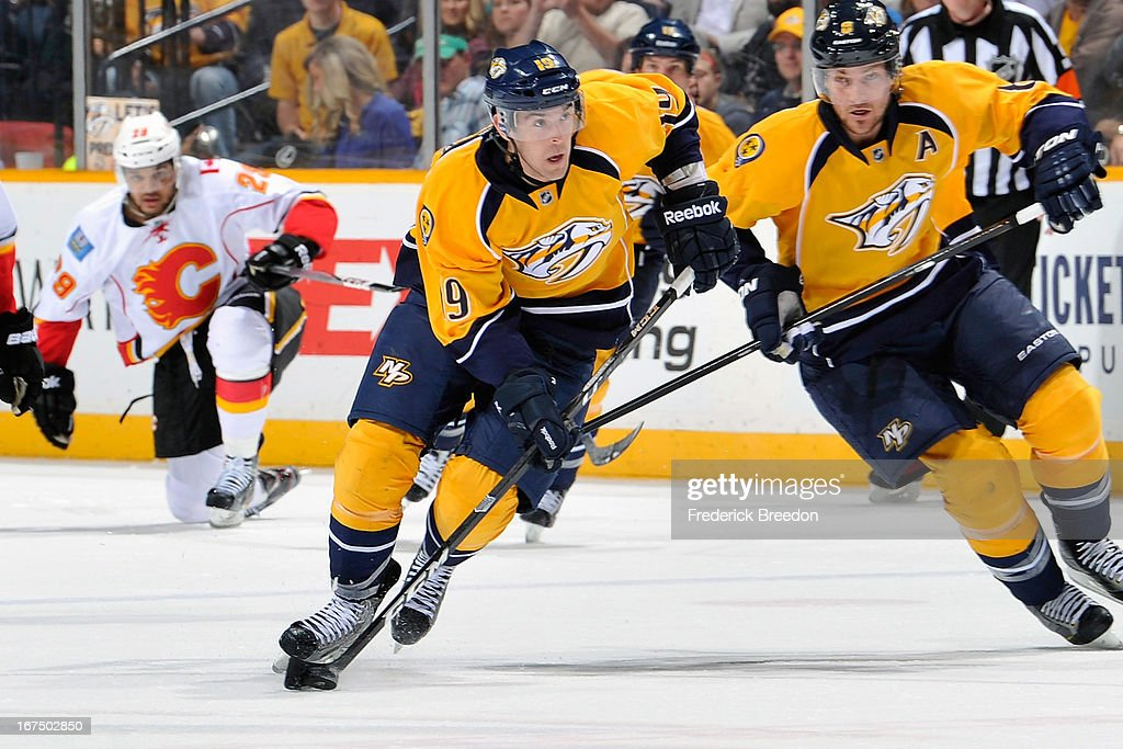 Bobby Butler of the Nashville Predators plays against the Calgary Flames at the Bridgestone Arena on April 23 2013 in Nashville Tennessee