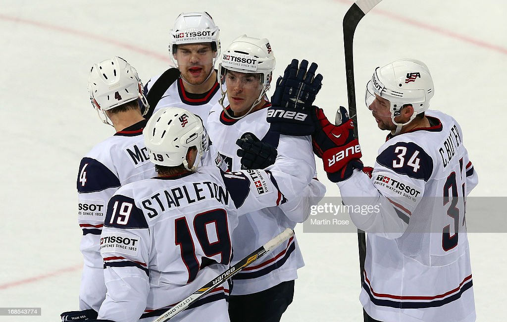 Bobby Butler of USA celebrate with his team mates after he score shi steam's 2nd goal during the IIHF World Championship group H match between USA...