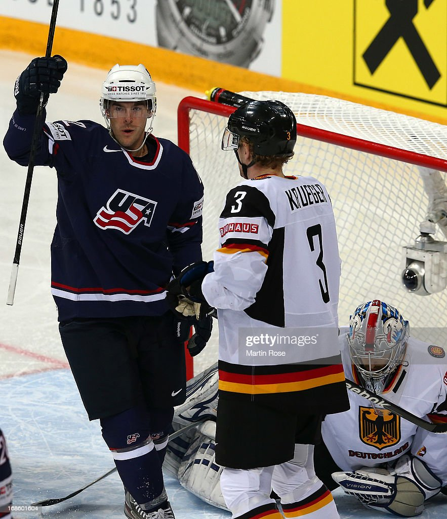 Bobby Butler of USA celebrates after he scores his team's 1st goal during the IIHF World Championship group H match between USA and Germany at...