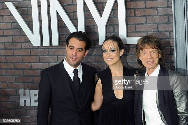 Bobby Cannavale Olivia Wilde and Mick Jagger attends the 'Vinyl' New York Premiere at Ziegfeld Theatre on January 15 2016 in New York City