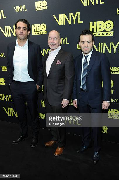 Bobby Cannavale Terence Winter and Max Casella attend the Canadian Red Carpet Premiere Of 'Vinyl' at TIFF Bell Lightbox on February 10 2016 in...
