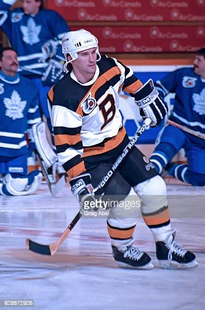Bobby Carpenter of the Boston Bruins skates in warmup prior to a game against the Toronto Maple Leafs on January 22 1992 at Maple Leaf Gardens in...