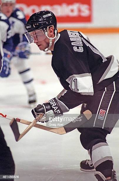 Bobby Carpenter of theLos Angeles Kings prepares for the faceoff against Toronto Maple Leafs during game action at Maple Leaf Gardens inToronto...