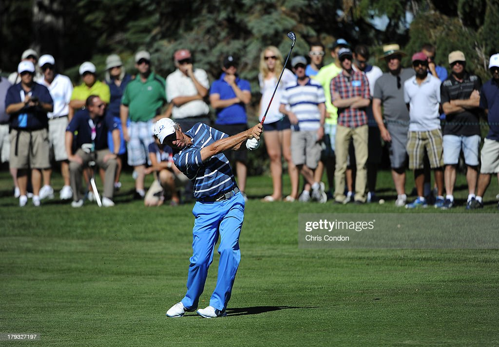 <a gi-track='captionPersonalityLinkClicked' href=/galleries/search?phrase=Bobby+Clampett&family=editorial&specificpeople=2617948 ng-click='$event.stopPropagation()'>Bobby Clampett</a> hits to the 13th green during the final round of the Shaw Charity Classic at Canyon Meadows Golf & Country Club on September 1, 2013 in Calgary, Alberta, Canada.