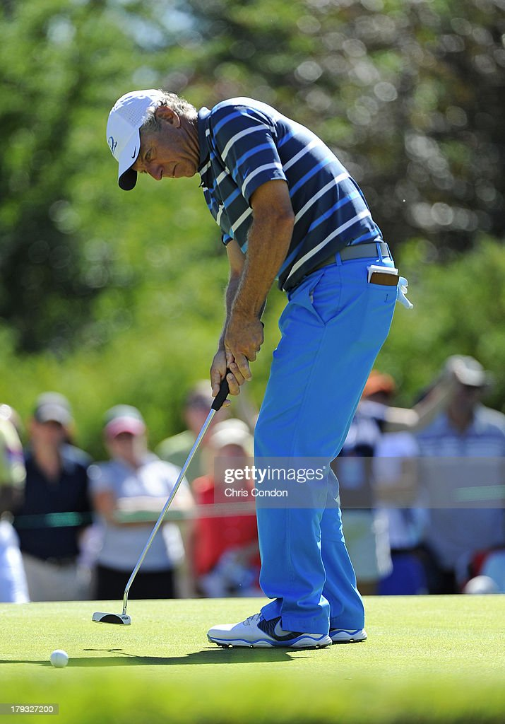 <a gi-track='captionPersonalityLinkClicked' href=/galleries/search?phrase=Bobby+Clampett&family=editorial&specificpeople=2617948 ng-click='$event.stopPropagation()'>Bobby Clampett</a> putts for birdie on the 6th green during the final round of the Shaw Charity Classic at Canyon Meadows Golf & Country Club on September 1, 2013 in Calgary, Alberta, Canada.