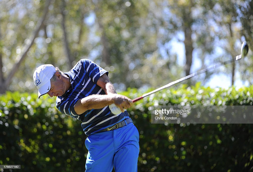 <a gi-track='captionPersonalityLinkClicked' href=/galleries/search?phrase=Bobby+Clampett&family=editorial&specificpeople=2617948 ng-click='$event.stopPropagation()'>Bobby Clampett</a> tees off on the second hole during the final round of the Shaw Charity Classic at Canyon Meadows Golf & Country Club on September 1, 2013 in Calgary, Alberta, Canada.
