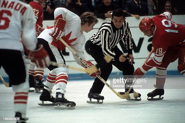 Bobby Clarke of Canada and Vladimir Shadrin of the Soviet Union faceoff during the 1972 Summit Series at the Luzhniki Ice Palace in Moscow Russia