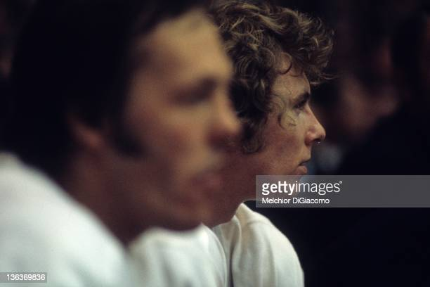 Bobby Clarke of Canada sits on the bench during the game against the Soviet Union in the 1972 Summit Series at the Luzhniki Ice Palace in Moscow...