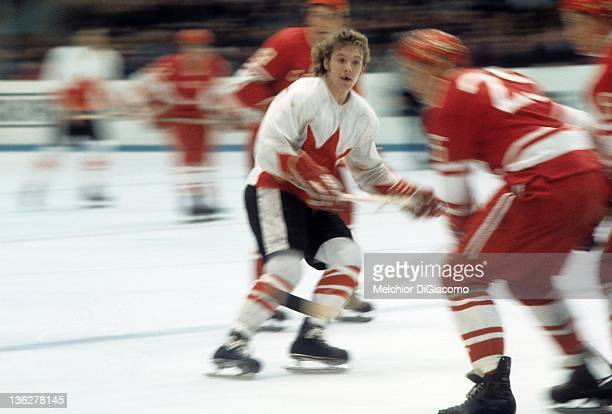 Bobby Clarke of Canada skates on the ice during the game against the Soviet Union in the 1972 Summit Series at the Luzhniki Ice Palace in Moscow...