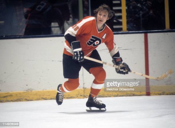 Bobby Clarke of the Philadelphia Flyers skates on the ice during an NHL game circa 1973
