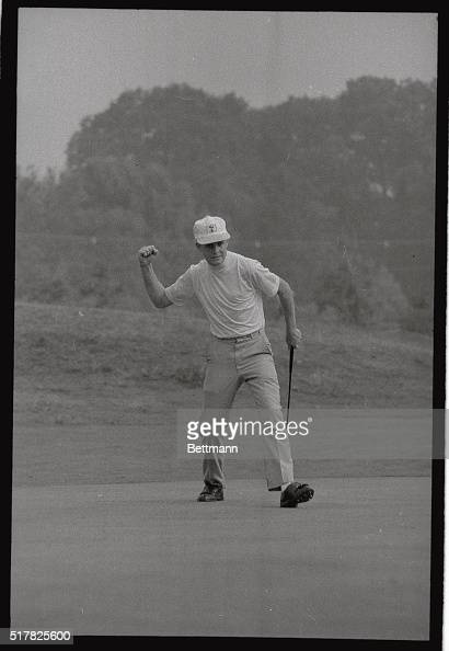 Bobby Cole of Springs Trensvaal South Africa attempts to add a little strength to his putt on the 5th green by shaking his first 9/1 in the second...