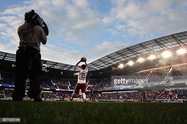Bobby Convey New York Red Bulls takes a throwin during the New York Red Bulls Vs Portland Timbers Major League Soccer regular season match at Red...
